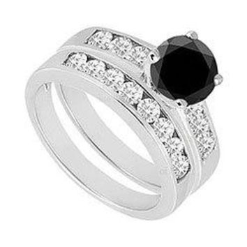 Black & White Diamond Engagement Ring with Wedding Band Sets 14K White Gold  1.50 CT TDW