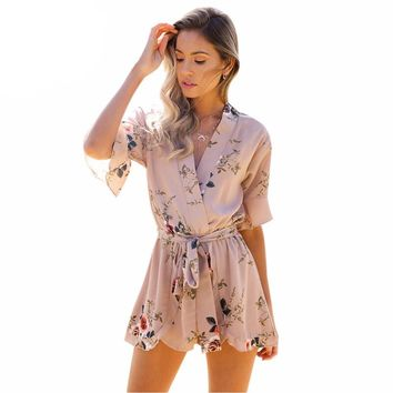 Red Floral Print short Playsuits Romper  For Women