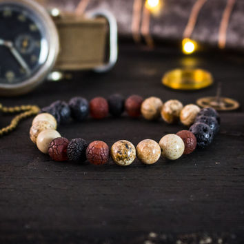 Brown jasper stone, black lava stone & dream agate beaded stretchy bracelet, yoga bracelet, mens bracelet, womens bracelet