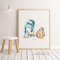R2D2 & BB8, Star Wars Watercolor Art Print
