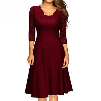 Women Winter Fashion Vintage Square Neck Floral Lace Cocktail Swing Dress