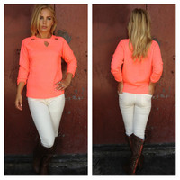 Neon Coral Knit Eyelet Sweater