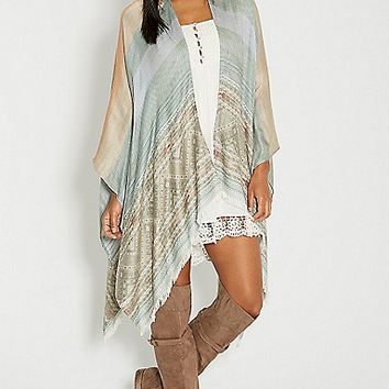 striped ruana wrap with ethnic border | maurices