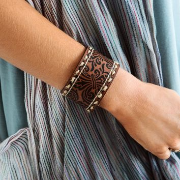 Avis Tooled Leather Bracelet - Brown