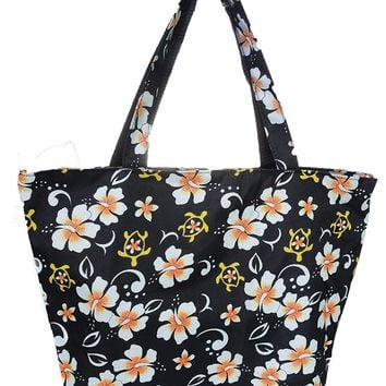 Hawaiian Hibiscus Floral Canvas Tote Bag Purse Turtles