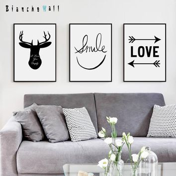 Smiling Face Minimalist Inspirational Phrase Black White A4 Canvas Painting Art Print Poster Picture Wall Paintings Wall Decor