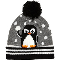 River Island Boys grey penguin beanie hat