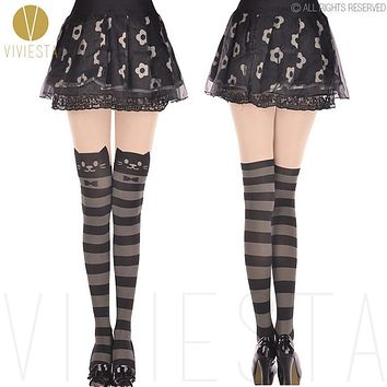 CUTE STRIPED CAT TATTOO TIGHTS - 60D Japan Kawaii Horizontal Stripes Kitten Kitty Fake Print Thigh Hosiery Stockings Pantyhose