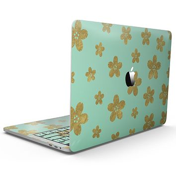 Mint and Gold Floral v7 - MacBook Pro with Touch Bar Skin Kit