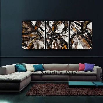 "Painting, Abstract wall art 72"" Extra large wall art, Minimalist Brown art decor, Brown, Black hand made original contemporary art - Nandita"