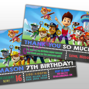 Chalkboard Paw Patrol Birthday Invitation and Thank You Card