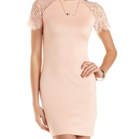 Bodycon Scuba Dress with Lace Sleeves by Charlotte Russe