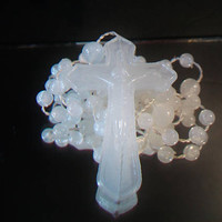 Vintage White Opaque Rosary Glow In The Dark Religious Catholic Collectible Gifts
