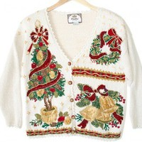 Shop Now! Ugly Sweaters: Tree Wreath and Bells Tacky Ugly Christmas Sweater / Cardigan Women's Size Petite Large (PL) $25 - The Ugly Sweater Shop