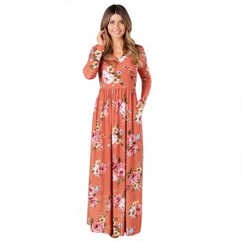 Flower Long Sleeve Maxi Dress
