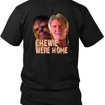 Star Wars The Force Awakens Chewie Were Home Han Solo 2 Sided Black Mens T Shirt