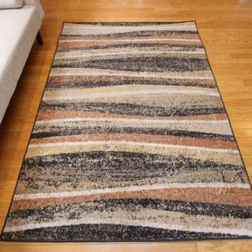 New Traditional Beige Waves and Stripes Abstract Area Rugs