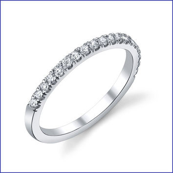 Gregorio 18K White Gold Diamond Engagement Band R-141B-2