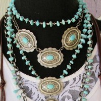 Three Concho Short Necklace