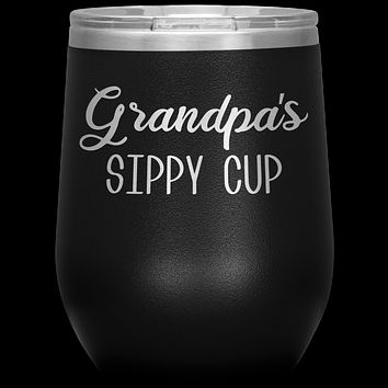 Grandpa's Sippy Cup Grandpa Wine Tumbler Gifts Funny Stemless Stainless Steel Insulated Wine Tumblers BPA Free 12oz Travel Cup