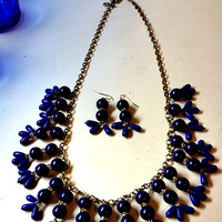 J Crew Cobalt Colored Necklace and Earrings...No Shipping