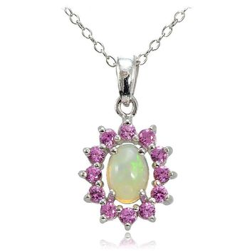 Sterling Silver Ethiopian Opal and Created Pink Sapphire Oval Flower Necklace