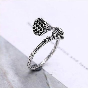 Charm Lotus Flower Open Silver Ring