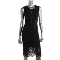 Milly Womens Lace Leather Trim Party Dress