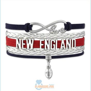 NEW ENGLAND Football Infinity Love Bracelet