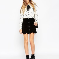 ASOS Blouse in Mono Ditsy Floral Print