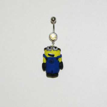 Minion belly button ring inspired by despicable me