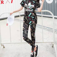 """Adidas"" Women Fashion Multicolor Letter Pattern Print Short Sleeve Trousers Set Two-Piece Sportswear"
