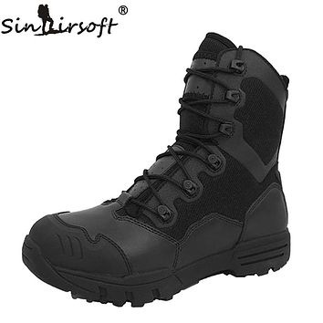 SINAIRSOFT Outdoor Genuine Leather U.S. Military Assault Tactical Boots Breathable