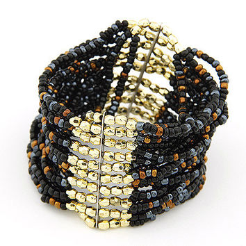 Bohemian Style Handcrafted Black Bead Bracelet,Women's Fashion Accessory, Party Jewelry, Birthday Gift, Pretty Accessory 10070452