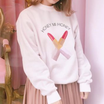 Lipstick embroidery Super soft and velvet sets leisure round collar sweater Pink