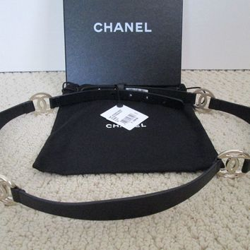 NWT Auth Chanel Black Leather Gold CC Logo Medallion Belt Sz 90 36 $1200 w/ Box
