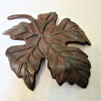 Cast Iron Maple Leaf Rustic Mid Century Modern Black Brown Bowl Dish Home Decor blm