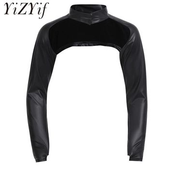 2018 Black Men Faux Leather Long Sleeve Stage Show Half-Jacket Hollow Arm Sleeves Shrug Bolero Motorcycle Punk Costume Clubwear