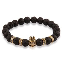 Men's Lion Head Bracelet with Natural Stone Beads | 6 Colors & Styles