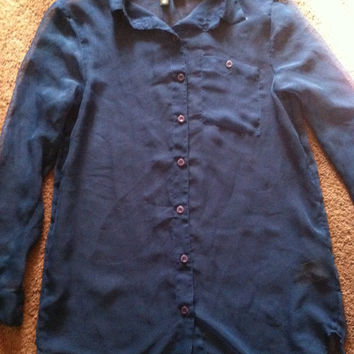 90s cobalt blue button up see through blouse size 4 Small clueless