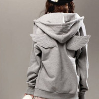 Fashion Casual Simple Female Angel Wing Cardigan Zip Hooded Sweater Velvet Coat