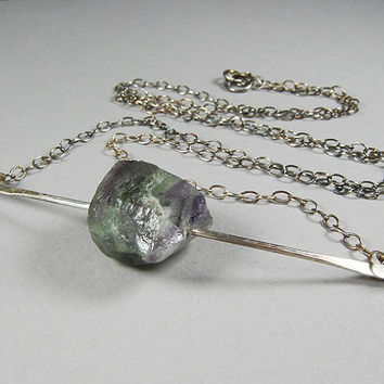 Raw Rainbow Fluorite Necklace, Sterling Silver and Purple Stone Pendant, Zen, Yoga Jewelry, Minimalist, Energy Crystal, Eclectic, Feng Shui
