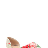 Floral History Fabric D'Orsay Flats