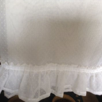 Anthropologie style vintage shabby chic Swiss Dot white ruffled sheer panels, 1 set of 54x63 sheers