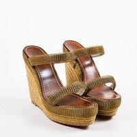 HCXX Christian Louboutin Beige and Gold Toned Chainmaille Espadrille Cadena Sandals