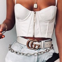GUCCI classic style brand double G belt simple men and women smooth buckle belt