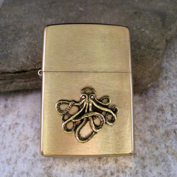 Genuine Brushed Gold Zippo Steampunk Nautical Octopus Cigarette Lighter