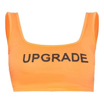 Shape Orange Upgrade Slogan Crop Top