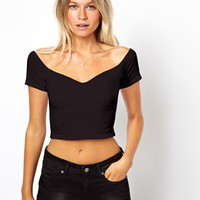 ASOS Crop Top with Bardot Sweetheart Neckline
