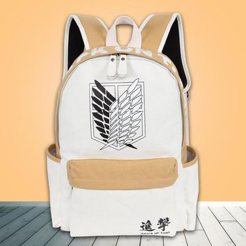 Cool Attack on Titan 2018 Anime Backpack  Canvas Laptop Backpack School Bags for Teenagers Vintage Mochila Rucksack Travel Daypack AT_90_11